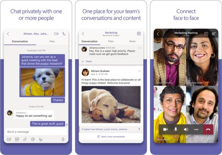 Microsoft Teams Video Conference iPhone and iPad App Screenshot