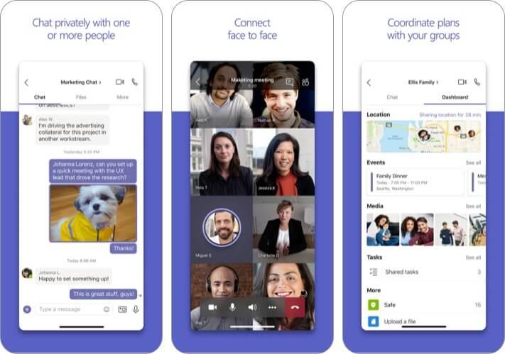 Microsoft Teams best iPhone business meeting app screenshot