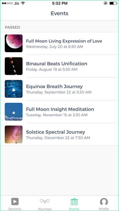 Mindbliss Meditations iPhone App Events