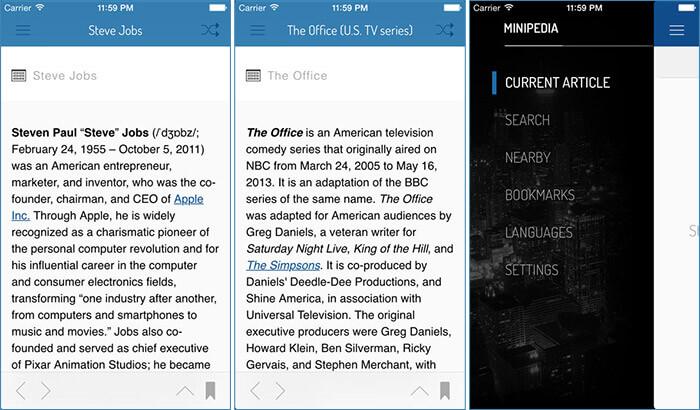Minipedia iPhone and iPad App Screenshot