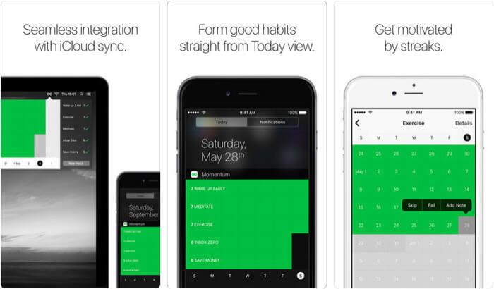 Momentum Habit Tracker iPhone App Screenshot