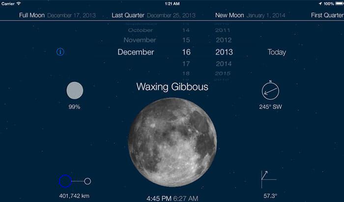Moon iPhone and iPad Science App Screenshot