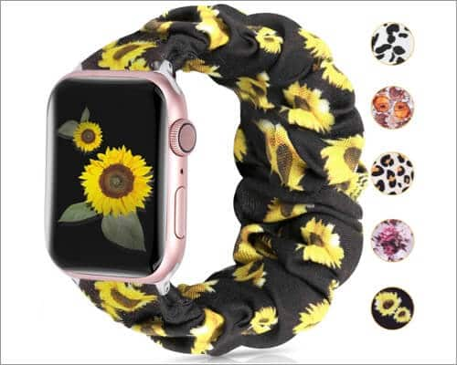 Moretek Sunflower Scrunchie Band for Apple Watch