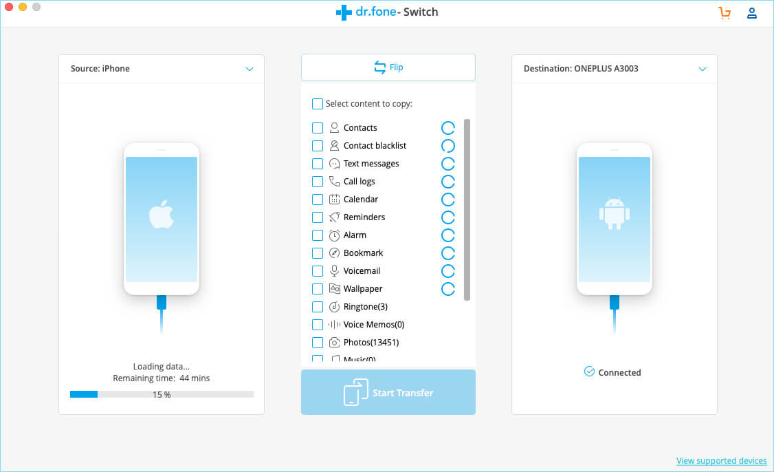 Move Data from iPhone to Android using dr.fone Switch