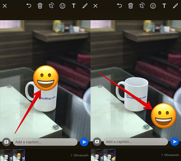 Move Emoji in WhatsApp Photo on iPhone