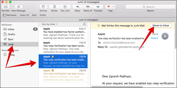 Move Junk Email to Inbox in Mail App on Mac