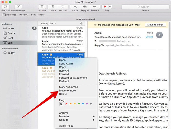 Move Junk Mail to Inbox in Mail App on Mac