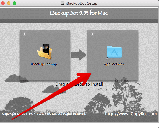 Move iBackupBot to Applications on Mac