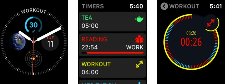 MultiTimer productivity appp for Apple Watch