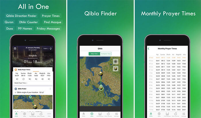 Muslim Assistant Qibla iPhone and iPad App Screenshot