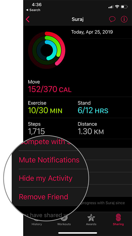 Mute Notifications, Hide Activity Or Remove A Friend from Activity Sharing from iPhone
