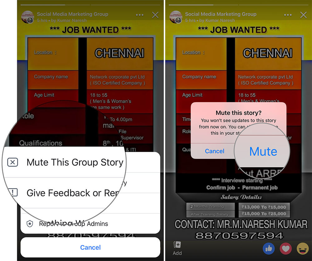 Mute Story from Facebook Feed on iPhone or iPad