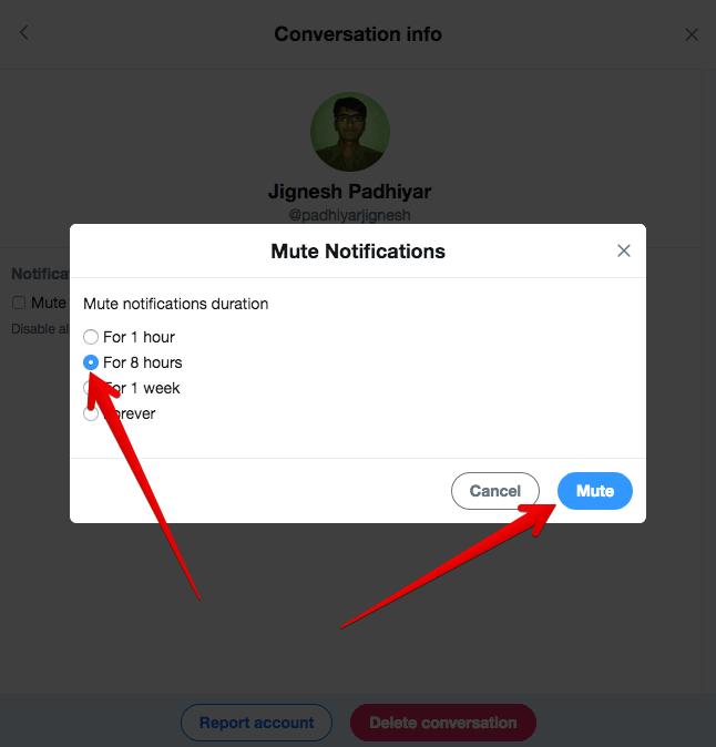 Mute Twitter Direct Message Notifications on PC