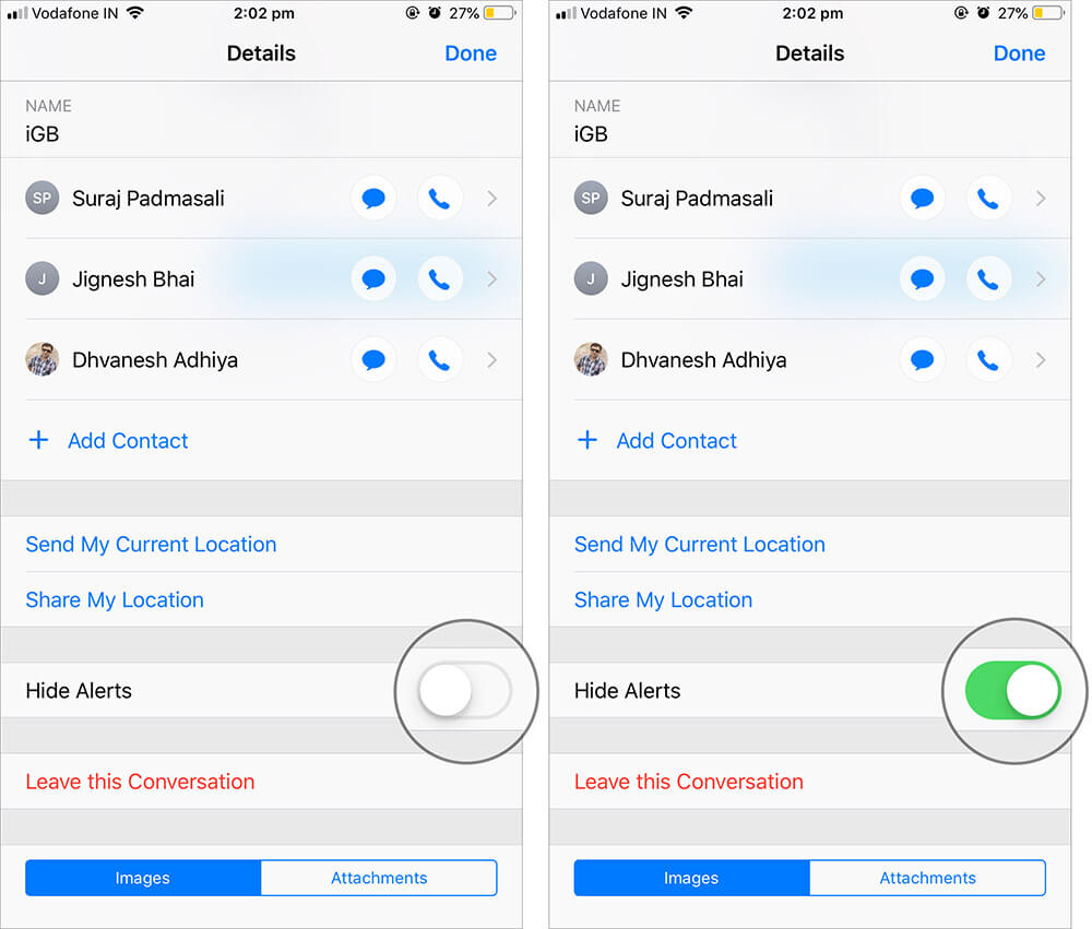 Mute a Group Message on iPhone or iPad