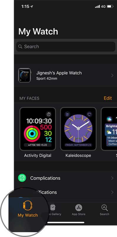 My Watch is selected in iPhone Apple Watch App
