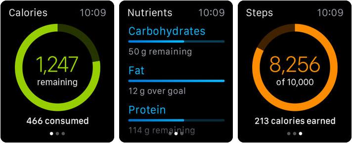 MyFitnessPal Apple Watch Fitness App Screenshot