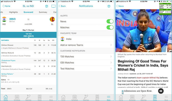 NDTV Cricket iPhone App Screenshot