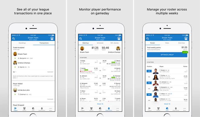 NFL Fantasy Football iPhone and iPad App Screenshot