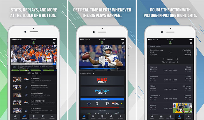NFL Sunday Ticket iPhone and iPad App Screenshot