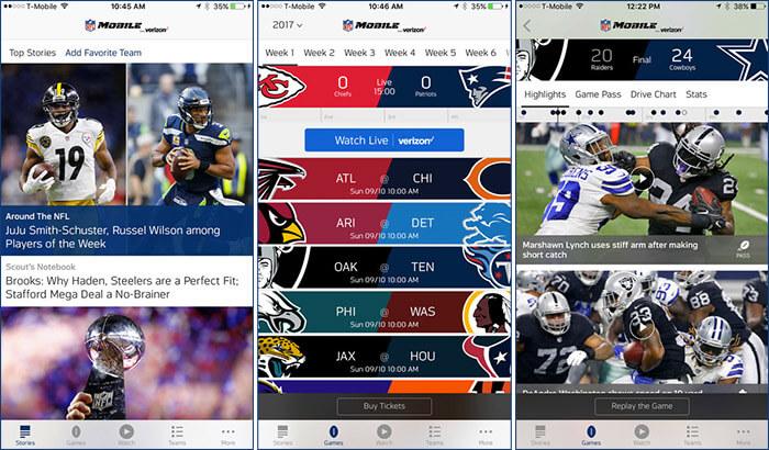NFL iPhone and iPad App Screenshot