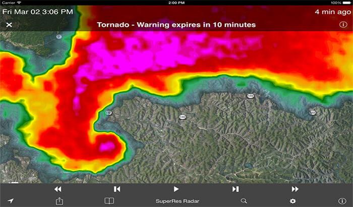 NOAA SuperRes Radar US iPhone and iPad App Screenshot
