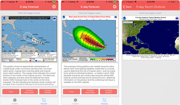 National Hurricane Center Data iPhone and iPad App Screenshot