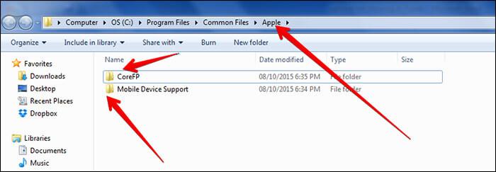 Navigate to Apple Folder on Windows PC