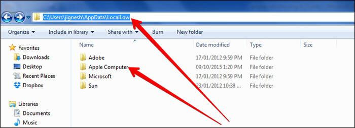 Navigate to LocalLow Folder in Windows PC