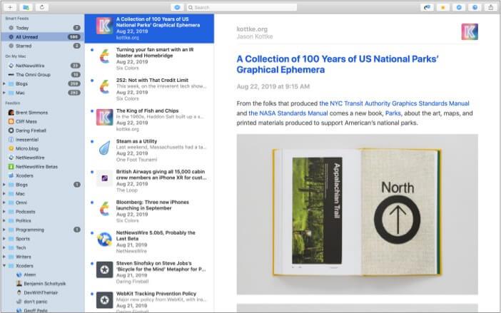 NetNewsWire best RSS feed reader app for Mac