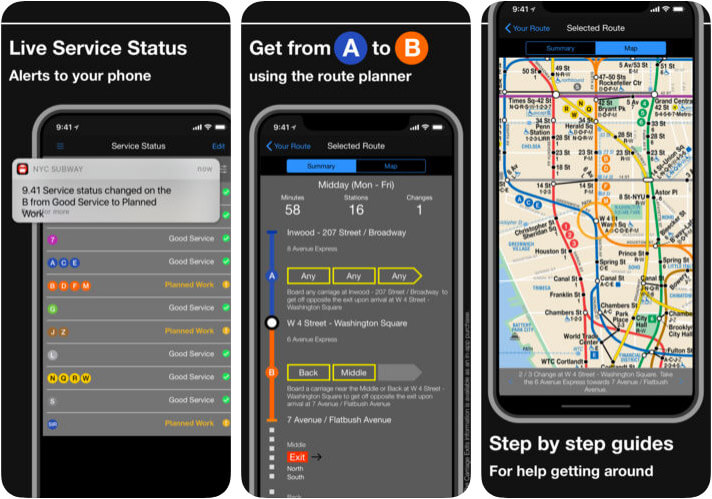 New York Subway MTA Map iPhone, iPad, and Apple Watch App Screenshot