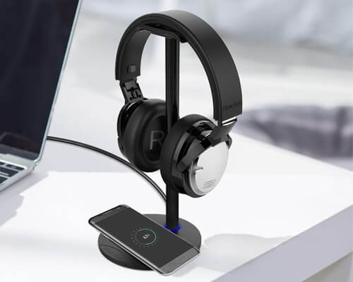 New bee Headphone Stand with Wireless Charger Pad