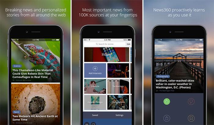 News360 iPhone and iPad App Screenshot
