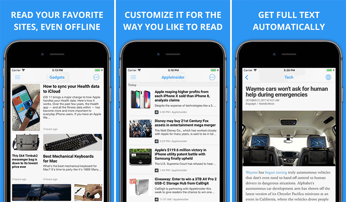 Newsify RSS Reader iPhone and iPad App Screenshot