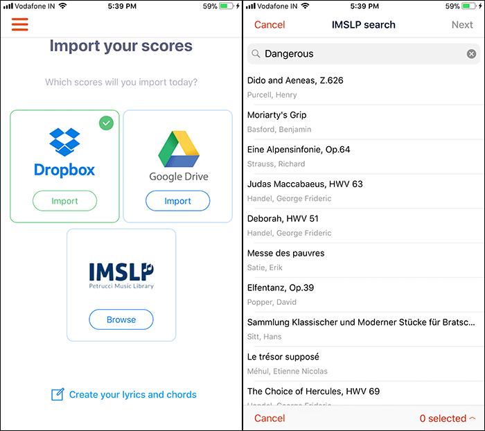 Newzik iPhone App IMSLP Search Tool