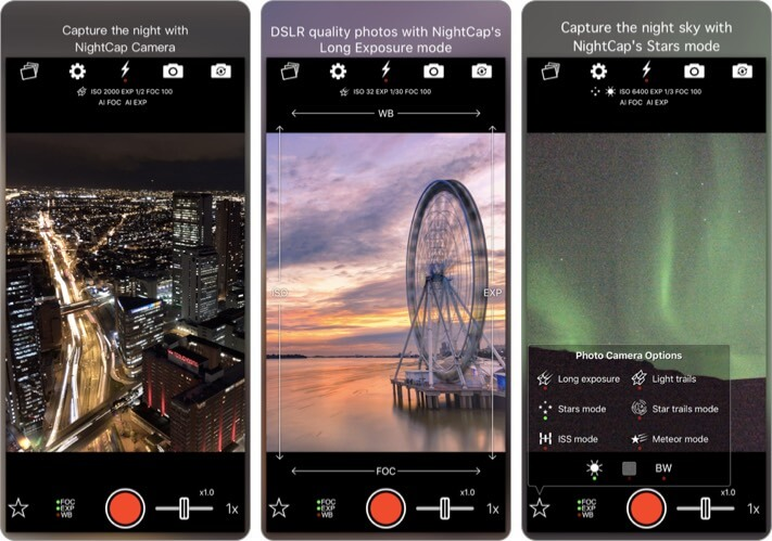 NightCap Camera astrophotography iPhone app screenshot