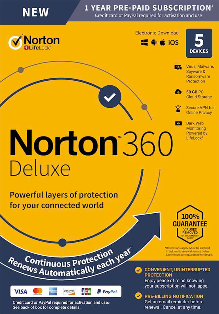 Norton 360 Deluxe Paid Antivirus Software for Mac