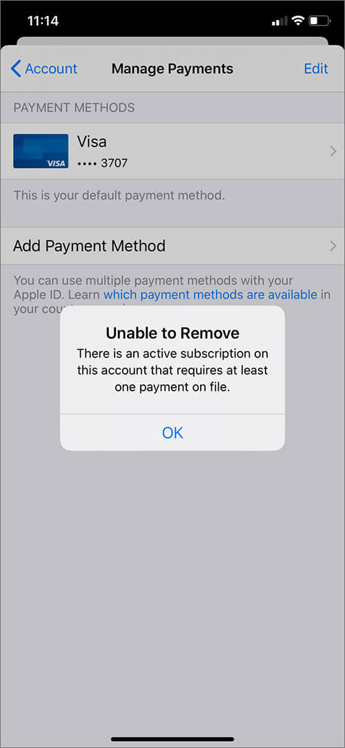 Not Able to Remove Current Payment Method on iPhone