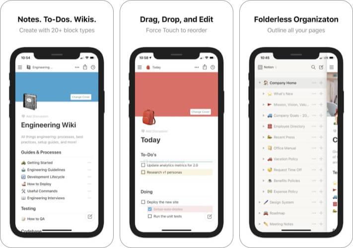 Notion best iPhone business meeting app screenshot