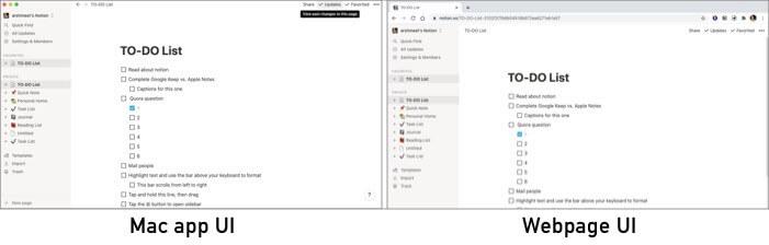 Notion's UI in Website and Mac app
