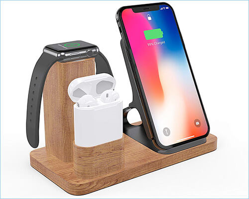 OLVOO iPhone Xs Max, Xs, and iPhone XR Wooden Charging Stand