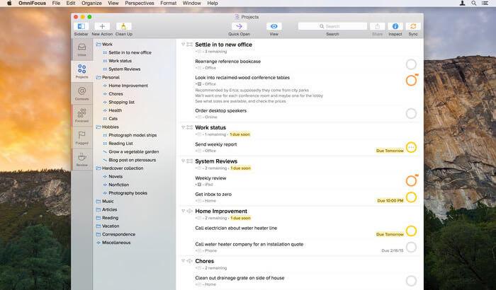 OmniFocus 2 Mac Task Management App Screenshot