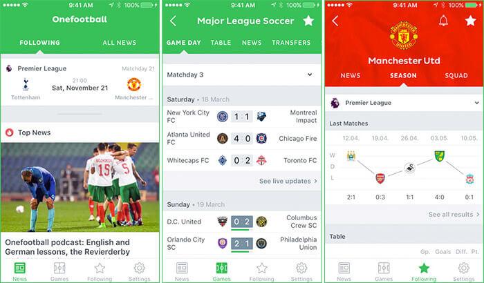 Onefootball Soccer News iPhone and iPad App Screenshot