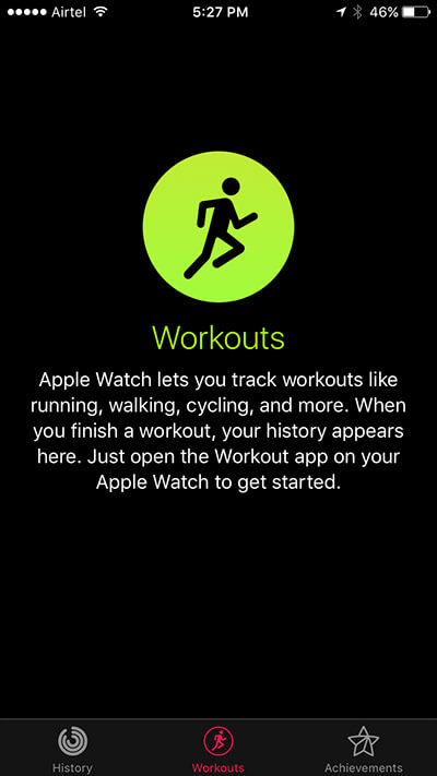 Open Activity App on iPhone and Tap on Workouts