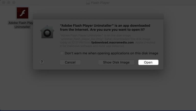 Open Adobe Flash Player Uninstaller on Mac