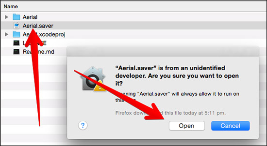 Open Aerial Saver File on Mac