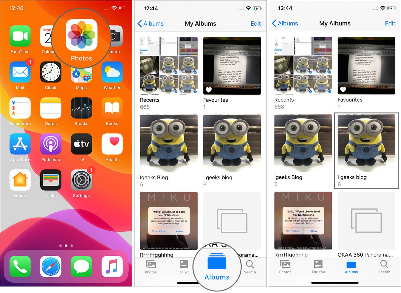 Open Album in iOS 13 Photos App on iPhone