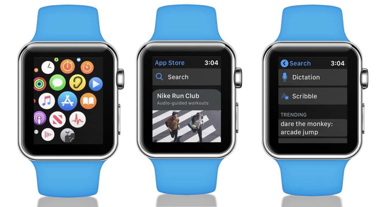 Open App Store, Tap on Search, Use Scribble on Apple Watch