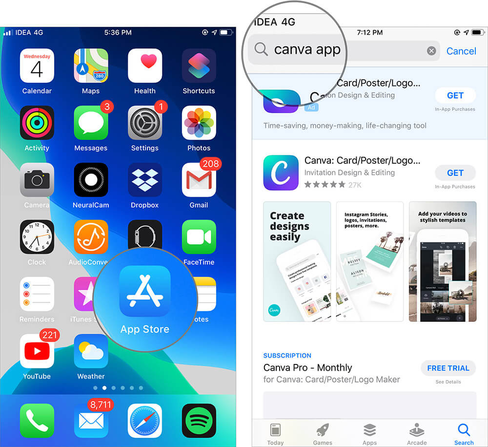Open App Store and Search Canva App on iPhone