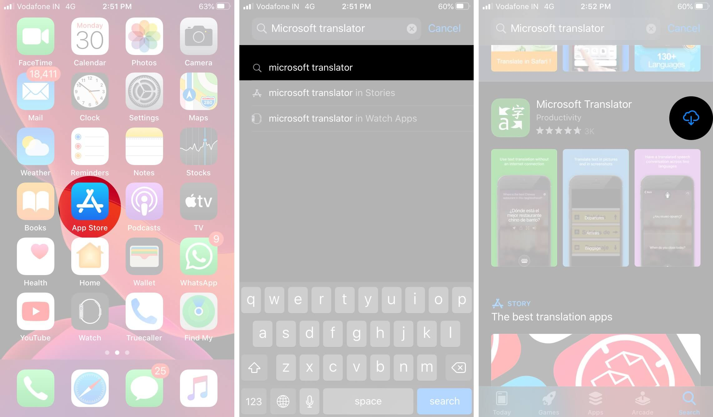 Open App Store to Download Microsoft Translator on iPhone