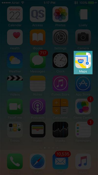 Open Apple Maps App on iPhone